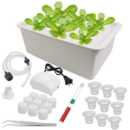 Freehawk Hydroponic System Growing Kit,9 Sites Bucket with Air Pump,Bubble Stone and Planting Sponges,Household DWC Hydroponic System Growing Kits for Herbs,Lettuce,Vegetables (Gray)