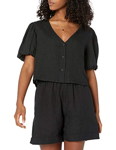 The Drop Women's Priya Puff-Sleeve Cropped Linen Shirt
