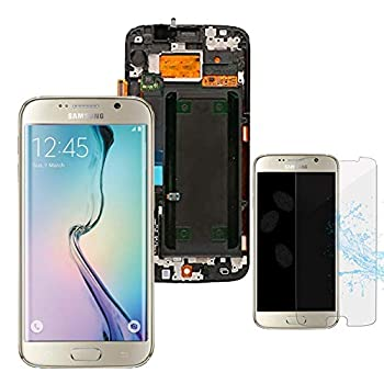 XQ Parts LCD Display Digitizer Touch Screen Assembly with Frame for Samsung Galaxy S6 Edge G925 G925F G925I OLED LCD 5.1   with Free Tempered Glass  Gold
