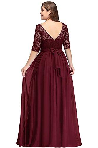 Misshow Damen Übergröße Abendkleid Spitze Chiffon mit Ärmel Elegant Lang Ballkleid , Weinrot, 50