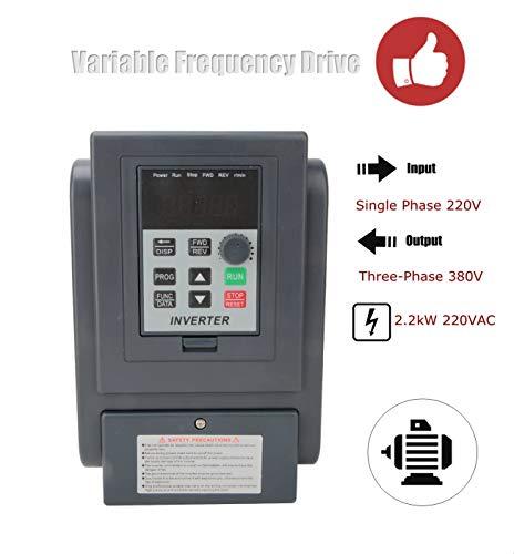 VFD Frequenzumrichter 220VAC 2,2 kW,Einphasen-Eingang Dreiphasen-Ausgang Frequenzumrichter Umrichter Motor Wechselrichter VFD Inverter Vektorregelung VFD Drehzahlregler