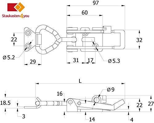Deichselbox, Premium, aus Alu Riffelblech 2,5/4 mm, Staubox, Truckbox, Werkzeugkasten, Gurtkiste - B 414 x H 300 x T 257 mm, Inhalt: 45 Ltr.