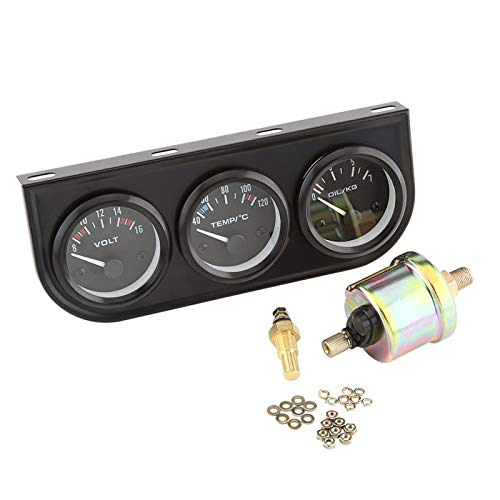 Coche Triple Gauge 52mm Triple Gauges 3 en 1 Voltímetro Medidor de temperatura del agua Medidor de presión de aceite Sensor W para autos, camiones, tractores, motores marinos