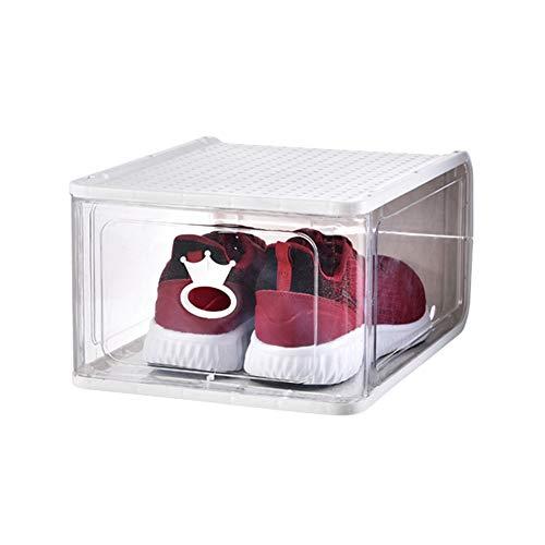 KKING Cajas De Almacenamiento, Caja De Zapatos Apilable, Gabinete Modular para Ahorrar Espacio De Almacenamiento, Estante De Exhibición Transparente Sólido, 4 Piezas,Blanco,13 * 10.43 * 6.89in