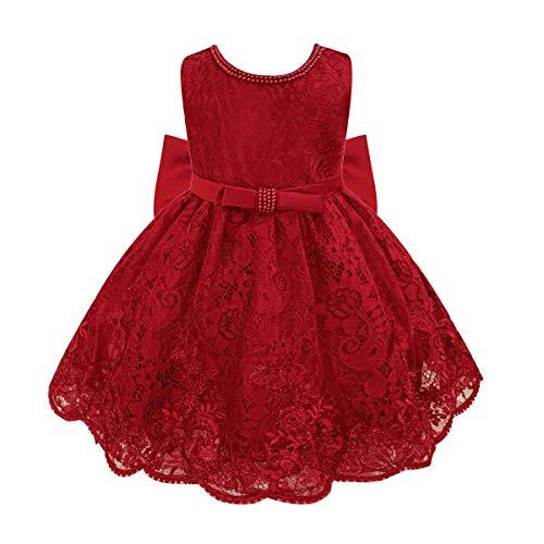 TiaoBug Baby Mädchen Prinzessin Kleid Blumenmädchenkleid Taufkleid Festlich Kleid Hochzeit Partykleid Festzug Babybekleidung(74-80 (Herstellergröße: 6M), Rot)