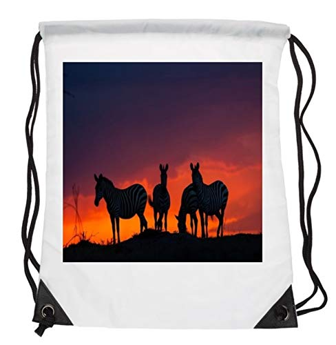 Beautiful Zebra Group Standing By Africa Savanna Sunset HD Bright Sun Light Background Mammal Animal Lovers Drawstring Folding Gym Bag Perfect for PE School Work Travel Sports