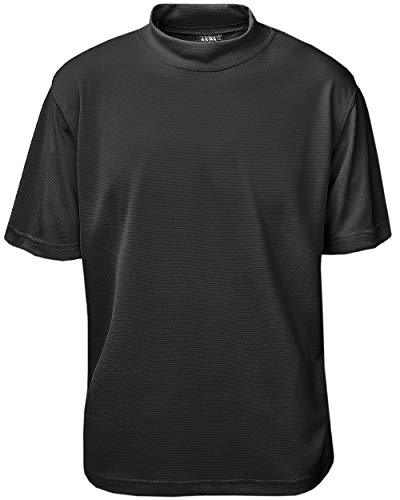 Akwa Men's Moisture Wicking Short Sleeve Mock Turtleneck T-Shirt Made in USA Lightweight Soft T-Shirt Black