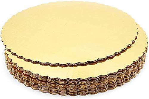 TAJNAN Cake Board 10 INCH Round Cardboard 5 Picecs-Piece Cardboard Round Cake Circle Base, 10 Inches Diameter, Gold