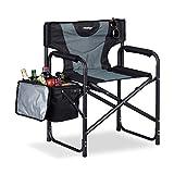 Relaxdays, schwarz-grau Regiestuhl, klappbarer Campingstuhl mit Kühltasche, ideal für Garten, Festival & Angeln, 110 kg