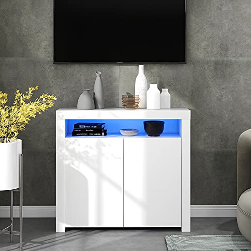High Gloss White Sideboard Display Cabinet with 16 Colors LED Lights, Modern 2-Door Wood Buffet Cupboard Storage Unit with Remote Control for Kitchen Living Room Dining Room Hallway