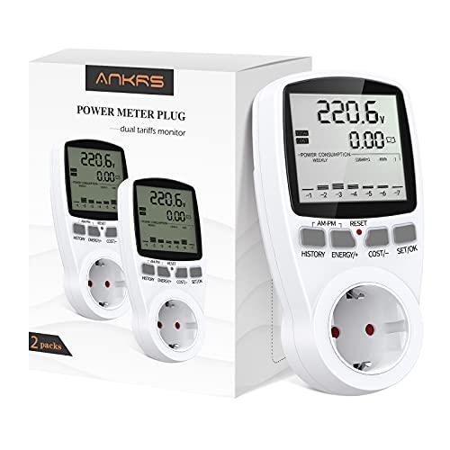 Contatore Energia Elettrica Dual Rate, Ankrs Misuratore di Consumo Elettrico con Schermo LCD Retroilluminazione, Risparmio di Energia, Presa Misuratore Elettrico con Batteria Ricaricabile (2 Packs)