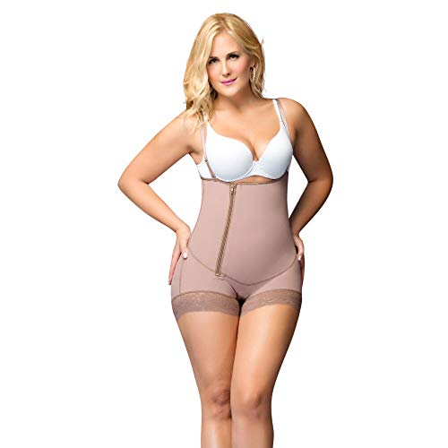 Shapewear from Fajas Diseno DPrada 11068 Strapless with Zipper Women's Post Surgery and Daily use Body Shaper Mocca,Small