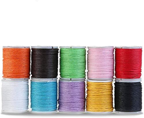 Samione Cotone Cerato, Cotone Cerato Cavi Stringhe Corde per Fai da Te Collana Bracciale Mestiere Che Fa (10 Colori)