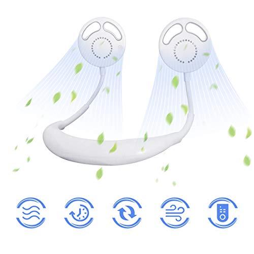 Ventilatore Portatile, 2020NEW Ventilatore Senza Lama, Ventilatore Indossabile da Collo Ricaricabile Mini USB,Doppia Ventola con 3 velocità per Ufficio,Casa,Aria Aperta e Sport (bianca)