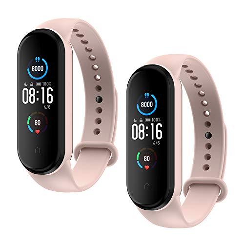 WD&CD Armband kompatibel mit Xiaomi Mi Band 5 Weiches Silikon (2 Stück,Rosa), Verstellbare Fitness Armband für Frauen männer