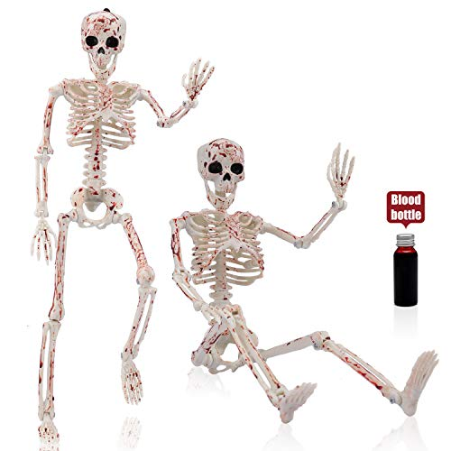 "2 Pack 16"" Halloween Skeleton-Full Body Posable Halloween Skeleton with Movable Joints for Best Halloween Decoration,Graveyard Decorations, Haunted House Accessories"