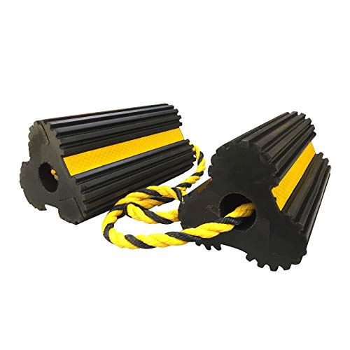 "ROBLOCK Wheel Chocks Heavy-Duty Rubber Wheel Block with Nylon Rope Yellow Reflective Tape, 4.1"" Long x 7.8"" Wide x 3.9"" High"