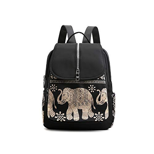 JOZZYAPA Elephant Lightweight Waterproof Rucksack Nylon Anti Theft Canvas Black Backpack Lovely Unique Gifts for Women and Girls, 263310cm