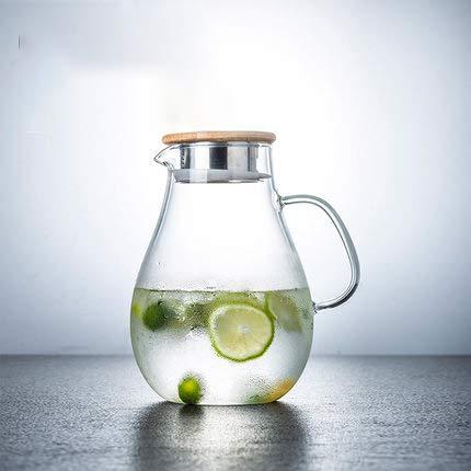 LLDKA Edelstahl Filter Krug für heißes/Kaltes Wasser, Eistee und Saftgetränk mit Deckel und Griff, Kann direkt erwärmt Werden und Tropft Nicht,Wasserkaraffe,Bamboocover,2.5L