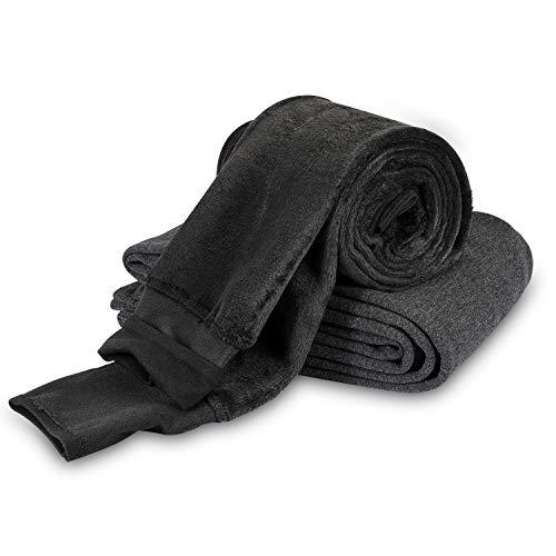 Mujer Leggings Forro Polar Polainas Cintura Alta Suave Elástico Invierno cálido Pantalones de Control de Barriga, 2 Paquetes (Negro + Gris Oscuro)