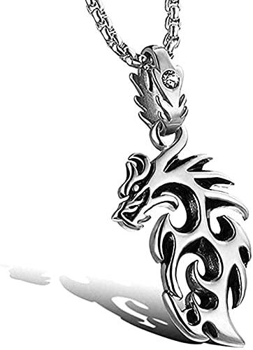 Collar Colgante Cadena Collar Mujer Hombre Collar Dragon Flame Collar Para Hombre o Mujer Acero Inoxidable Cristal Transparente Punk Gótico Colgante Mítico Estilo Cava con Cadena Fantasia Jue
