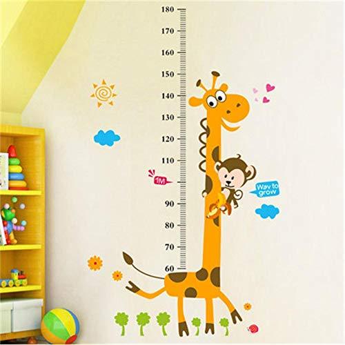 Wandtattoo Maßband Giraffe mit Affen Zoo Motiv für Kinderzimmer 130 x 80cm
