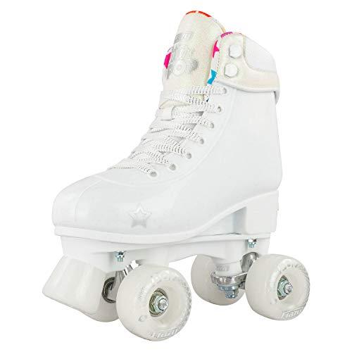 Crazy Skates Adjustable Roller Skates for Girls and Boys - Glitter Pop Collection - White (Sizes jr12-2)