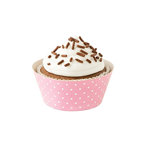 Fox Run 7176 Polka Dot Cupcake Wrapper Set, Standard, Pack of 12, Pink and Brown