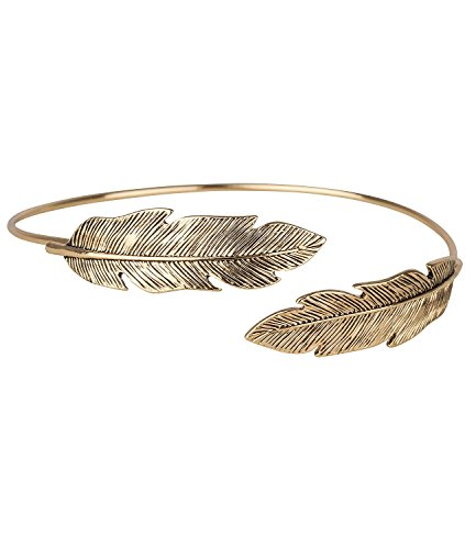 SIX - 1 pc. of Spiral Upper Arm Braclet, Armlet with Golden Feather, Cuff Bangle, Adjustable, Festival Costume Jewellery (460-684)