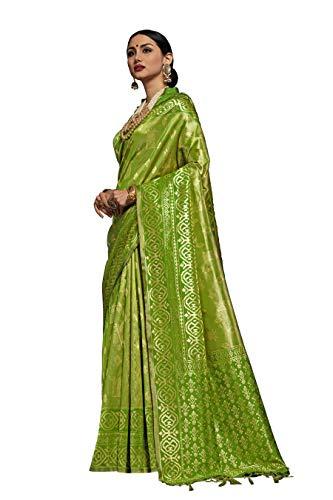 Peegli Saree Donne Etniche Kanjivaram Arte Seta Saree Verde Matrimonio Indiano...