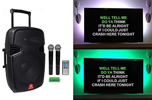 "Rockville 15"" Portable Karaoke Machine/System w/ (2) Wireless Microphones+LED"