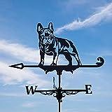 goodjinHH Wetterfahne Bulldogge-Wetterhahn,Retro Windrichtungsanzeiger aus Metall mit Fester Halterung,Wetterfahne Betreff Dach Deko,für Garten Gartenhaus Dach Terrasse Hof Ornaments (30cm*55cm)