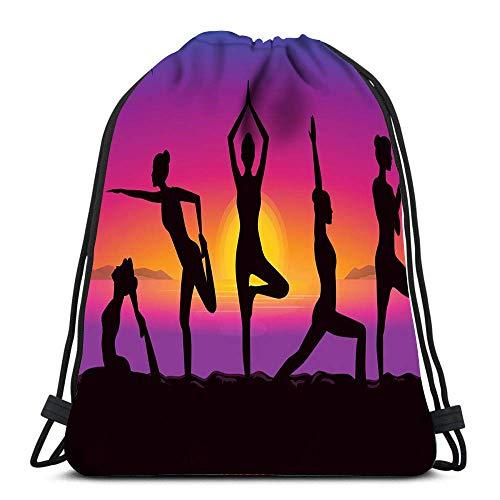 Rucksack Damen Herren Frauengruppe Posiert In Yoga-Haltung Am Meer Die Sonnenuntergangszeit Sportbeutel Personalisierte Multifunktion Turnbeutel Für Kinder Jugendliche...