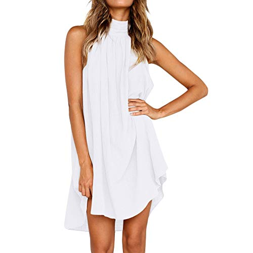 HIRIRI Women Holiday Irregular Dress Ladies Summer Beach Sleeveless Loose Halter Neck Party Tank Dress White