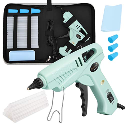 Magicfly 60/100W Hot Glue Gun Full Size with 15 Pcs Hot Glue Sticks (0.43 X 5.9 inch) and Carry Case, Dual Power High Temp Melt Glue Gun Kit with Finger Caps, Mat for Arts Craft, Househould, Green