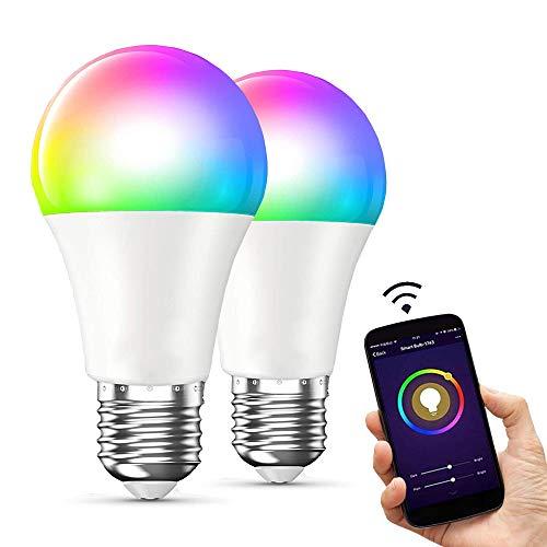 E T EASYTAO 2 Bombillas Inteligentes Foco Led Inteligente E27 Bombilla Wifi 10W RGBW 16 Millones de Colores Regulable Control Remoto de APP y Control de Voz Compatible con Alexa, GoogleHome
