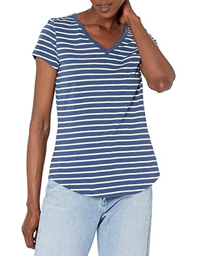 Goodthreads Camiseta Vintage de algodón con Cuello en V, Azul Marino, Rayas...