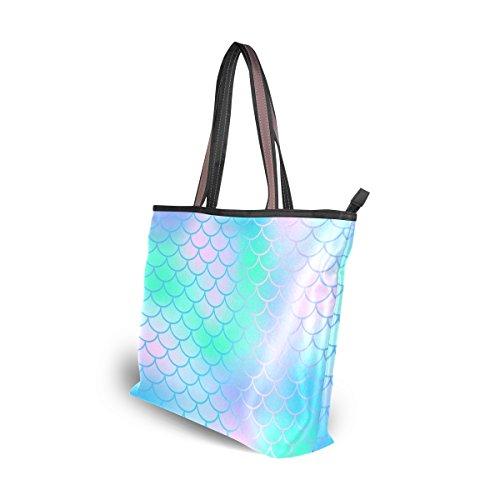 Women Tote Bag Large Handbag Candy Color Magic Mermaid Fish Scale Pattern Shopping Travel Shoulder Bag