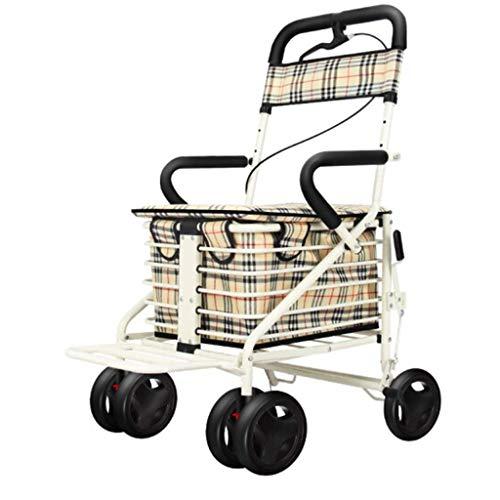 HFJKD Walker, Rollatoren/Gehhilfen Walker Rollator/Walker Rollator zum Einkaufen/Walker Rollator mit Sitz Leichter Rutschfester älterer Einkaufswagen Klappwagen Alter Mann mit Räde