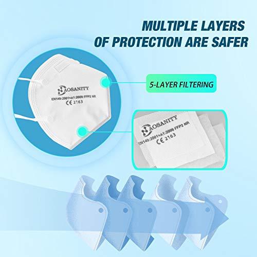 10 X AOSANITY FFP2 Atemschutzmaske – Konforme Maske EN 149:2001+A1:2009, Maske mit mehrschichtigem System, hohe Filtrationskapazität Zusätzlicher Komfort und Sicherheit - 5
