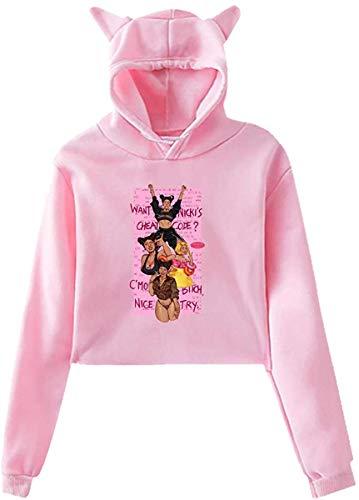 ibishibi8 Langarm Katzenohr Sweater Oberteile Bluse Women's Cat Ear Hoodie Long Sleeve Hooded Nicki Good from- Minaj Pullover Sweatshirt Tops Sweater Black