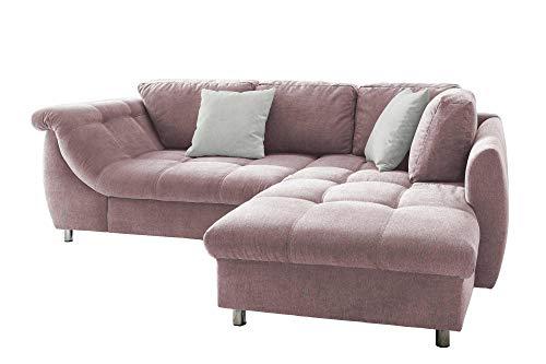 lifestyle4living Ecksofa mit Schlaffunktion in Rosa mit großen Rücken-Kissen und Zierkissen, Microfaser-Stoff | Gemütliches L-Sofa mit Longchair im modernen Look
