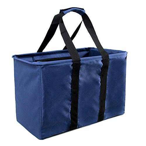 Navy Reusable Collapsible Durable Grocery Shopping Bag 30L Heavy Duty Stand Upright with Removable Bottom Gift Utility Tote Bag for Women Men