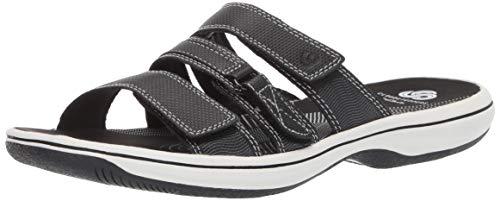 Clarks Women's Brinkley Coast Slide Sandal, black synthetic, 8 M US