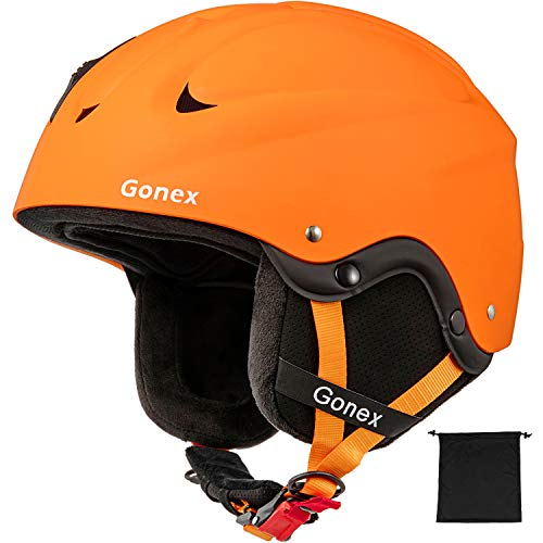 Gonex Ski Helmet - ASTM and CE Certified Safety Snowboard Snow Helmet for Men Women Youth - Winter ABS Anti-Shock with Adjustable Dial Sports Skiing Helmet (Orange L)