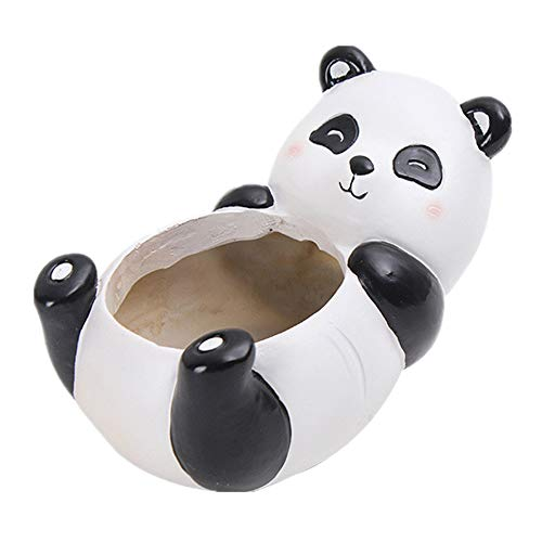 MOPOIN Blumentopf Keramik, Pflanzentopf Kleine Blumentöpfe Nette Hause Dekorative Vase für Kakteen Moos Zimmerpflanzen (Panda)