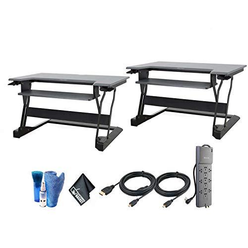 Ergotron WorkFit-T, Sit- Stand Desk Converter | Black, 35' Wide | for Tabletops | Desktop Workstation - 2 Pack Bundle with HDMI Cables and Surge Protector