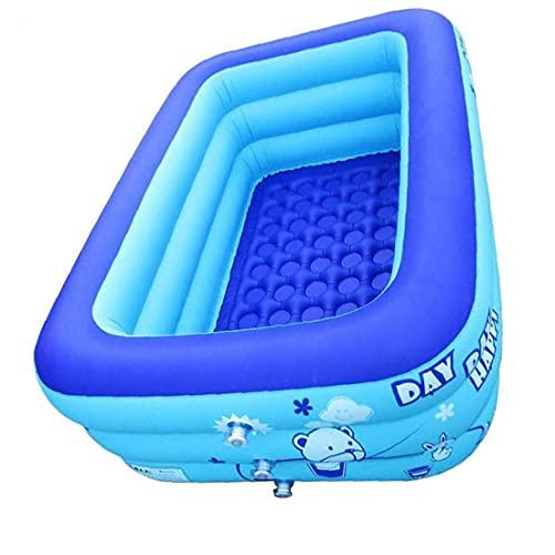 LAANCOO Aufblasbare Pool Kinder Schwimmen Rechteckige Blow-up Baby-Badewanne 130x85x50cm Backyard-Becken für Swimmingpools