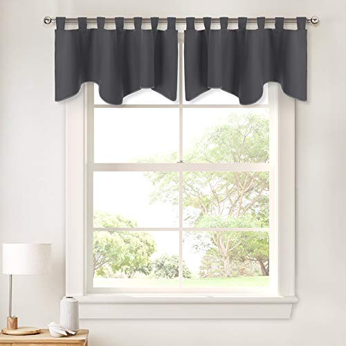 PONY DANCE Grey Scalloped Valances - Window Curtains Home Decoration Window Treatments Top Tab Panel Valances Blackout Tier Drapery for Kitchen, 52 inch Wide by 18 inch Long, Grey, 2 Pieces