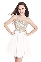 Junior's White Applique embellished Lace Short Homecoming Dress